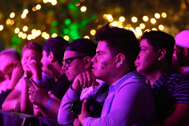 Festival goers watch musical performers at the Los Angeles Pride Festival on Saturday, June 11, 2016. Brett Le Blanc/Las Vegas Review-Journal Follow @bleblancphoto