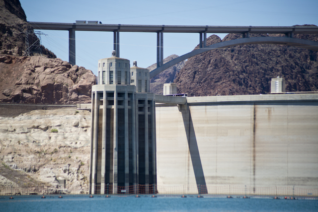 Hoover Dam and the Mike O'Callaghan-Pat Tillman Memorial Bridge are seen from Lake Mead on May 27. (Daniel Clark/Las Vegas Review-Journal) Follow @DanJClarkPhoto
