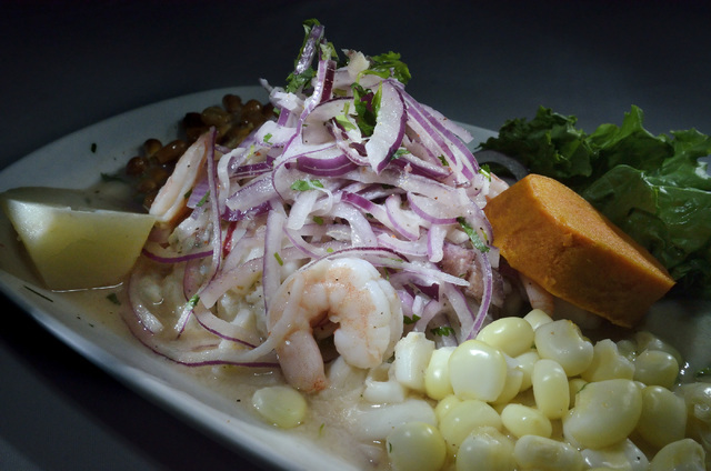 The Ceviche Mixto, featuring fresh fish, octopus, shrimp and squid marinated in lime juice, is shown at Las Americas at 2319 S. Eastern Ave. in Las Vegas June 17, 2016. Bill Hughes/Las Vegas Revie ...