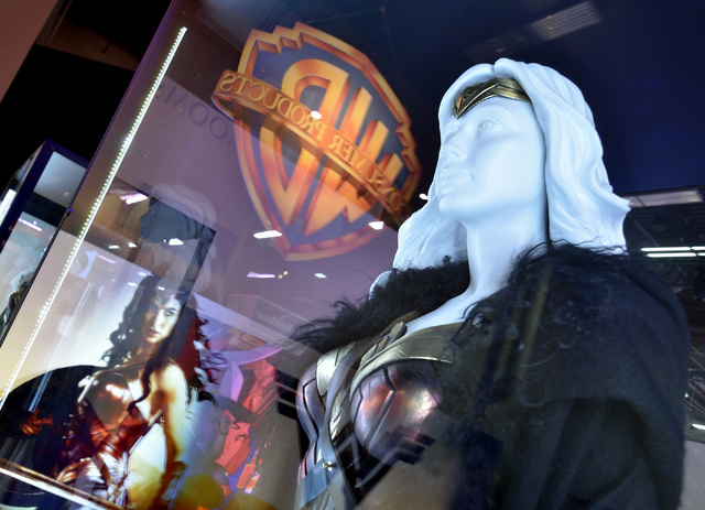 Part of a Wonder Woman exhibit is shown in the Warner Bros. Entertainment area of the Licensing Expo at the Mandalay Bay Convention Center in Las Vegas on Tuesday, June 21, 2016. Bill Hughes/Las V ...