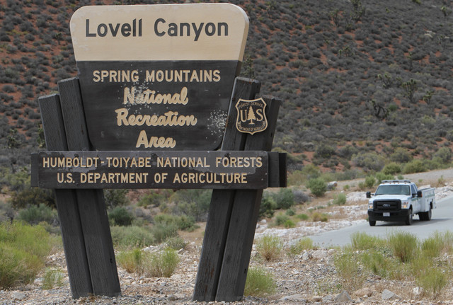 The entrance sign to Lovell Canyon is seen on Monday, June 27, 2016. (Richard Brian/Las Vegas Review-Journal)