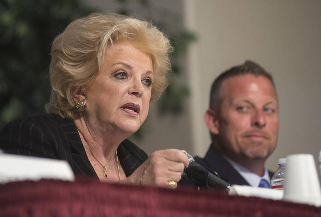 Mayor Carolyn Goodman participates in the fourth and final mayoral debate on Monday, March 30, 2015, in Las Vegas at Desert Vista Community Center in Sun City Summerlin. Primary voters go to the p ...