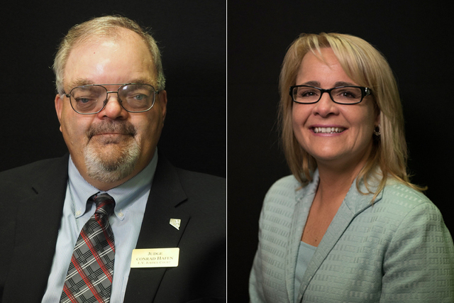 """Candidates for Las Vegas Justice of the Peace Dept. 14, from left, Conrad Hafen (incumbent) and Amy """"JoAnne"""" Chelini. Phung Jefferson Horton does not appear in this photo. Photographed at the Las  ..."""