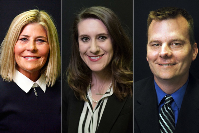 Candidate for Las Vegas Justice of the Peace, Dept. 3, from left, Janiece Marshall (incumbent), Harmony Letizia, Sean Connell, are photographed at the Las Vegas Review-Journal offices in 2016. (La ...