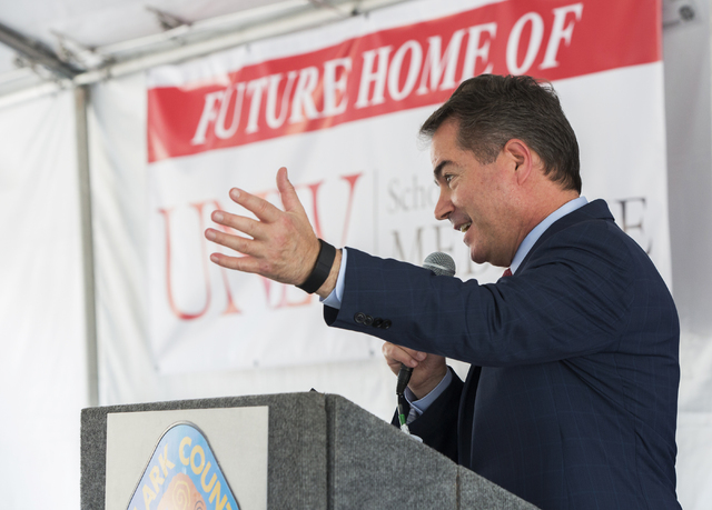 UNLV President Len Jessup addresses attendees at a ceremony to commemorate the Clark County Commission's decision to give UNLV a 9-acre plot of land to build a new medical school Tuesday, June 21, ...