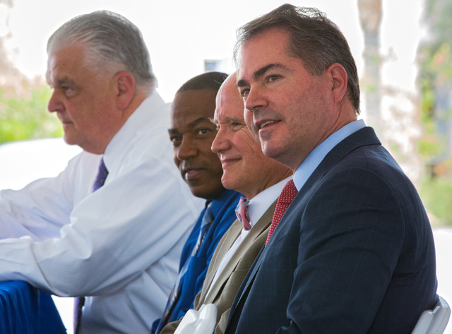 UNLV President Len Jessup, from right, Michael Wixom, vice chairman of the Board of Regents, Clark County Commissioner Lawrence Weekly and Clark County Commission Chairman Steve Sisolak attend a c ...