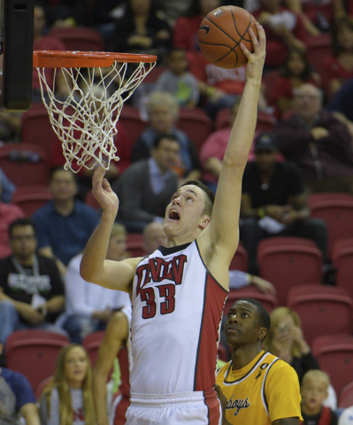 UNLV forward Stephen Zimmerman Jr. drops in two points against Wyoming during their Mountain West game Feb. 27, 2016, at the Thomas & Mack Center. UNLV won 79-74. Sam Morris/Las Vegas News Bureau