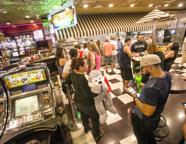 People wait in line at the Mermaid's Casino lunch counter on Tuesday, June 21, 2016. The casino will be closing next Monday night. (Jeff Scheid/Las Vegas Review-Journal) Follow @jlscheid