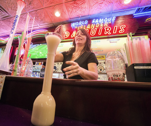 Bartender Tammy Goodwrench serves a frozen cocktail at   Mermaid's Casino, 32 Fremont St., on Tuesday, June 21, 2016. The casino will be closing next Monday night. (Jeff Scheid/Las Vegas Review-Jo ...