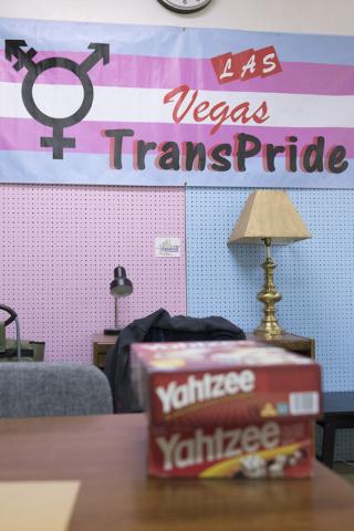 A transgender pride banner is seen at the Metropolitan Community Church's Transcending The Gender Box drop-in center in Las Vegas, Sunday, June 12, 2016. (Jason Ogulnik/Las Vegas Review-Journal)