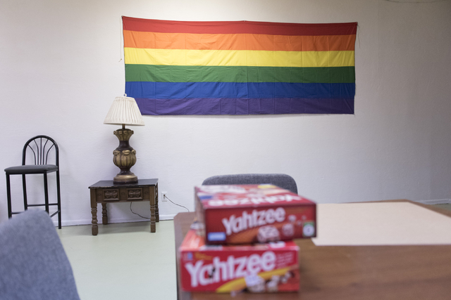 A gay pride flag is seen at the Metropolitan Community Church's Transcending The Gender Box drop-in center in Las Vegas Sunday, June 12, 2016. (Jason Ogulnik/Las Vegas Review-Journal)