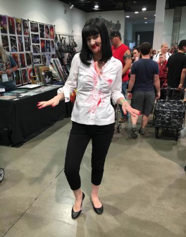 "Sierra Spigener, 21, dresses as Uma Thurman's Mia Wallace of ""Pulp Fiction"" at the Amazing Las Vegas Comic Con on Saturday, June 18, 2016. (Ashley Casper/Las Vegas Review-Journal)"