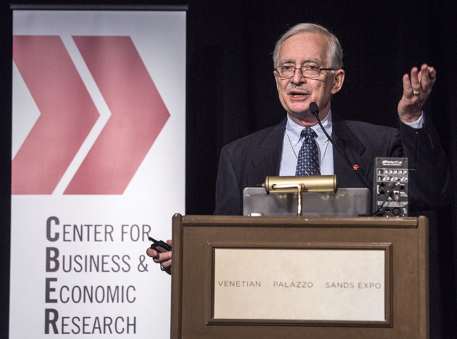 Dr. Stephen M. Miller, CBER director and professor of economics, discusses the economic outlook for the nation, Nevada, and Las Vegas during the Midyear Economic Outlook conference at the Venetian ...