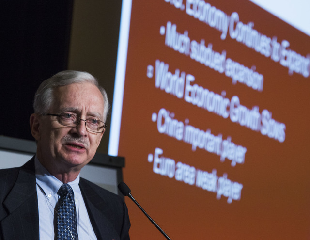Dr. Stephen M. Miller, CBER director and professor of economics, discusses the world economic outlook during  the Midyear Economic Outlook conference at the Venetian on Thursday, June 23, 2016. Je ...