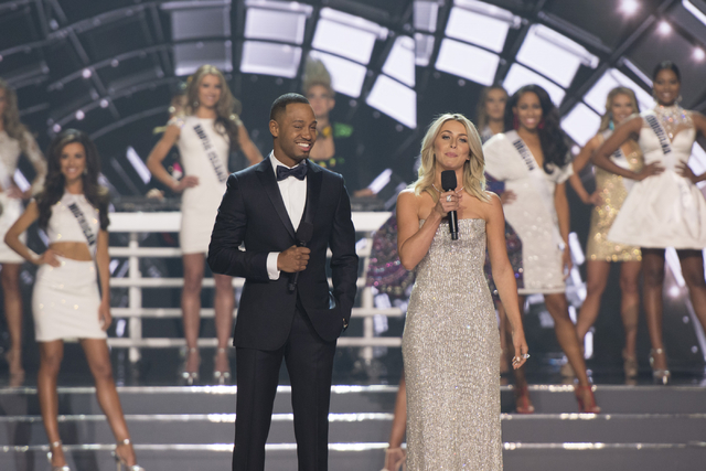 Terrance J, left, and Julianne Hough, co-hosts the Miss USA pageant at T-Mobile Arena in Las Vegas Sunday, June 5, 2016. (Jason Ogulnik/Las Vegas Review-Journal)