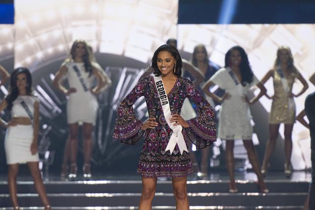 Miss Georgia, Emanii Davis, is seen during the Miss USA pageant at T-Mobile Arena in Las Vegas Sunday, June 5, 2016. Jason Ogulnik/Las Vegas Review-Journal