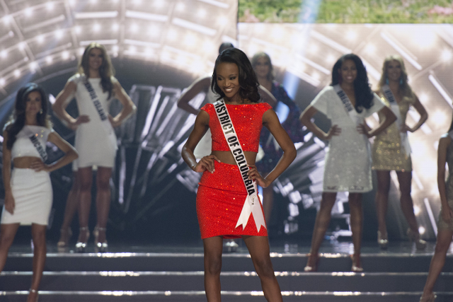 Miss District of Columbia, Deshauna Barber, is seen during the Miss USA pageant at T-Mobile Arena in Las Vegas Sunday, June 5, 2016. She was crowned Miss USA.(Jason Ogulnik/Las Vegas Review-Journal)