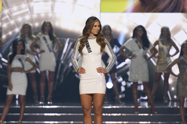 Miss Hawaii, Chelsea Hardin, is seen during the Miss USA pageant at T-Mobile Arena in Las Vegas Sunday, June 5, 2016.(Jason Ogulnik/Las Vegas Review-Journal)