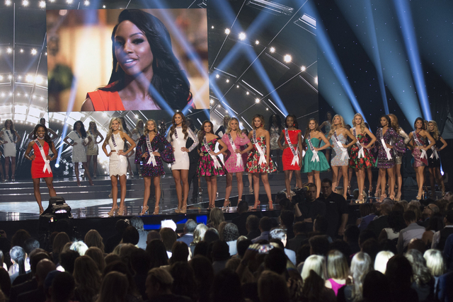 The top 15 contestants are seen during the Miss USA pageant at T-Mobile Arena in Las Vegas, Sunday, June 5, 2016. (Jason Ogulnik/Las Vegas Review-Journal)