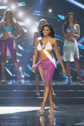 Miss Georgia, Emanii Davis, is seen during the Miss USA pageant at T-Mobile Arena in Las Vegas, Sunday, June 5, 2016.(Jason Ogulnik/Las Vegas Review-Journal)