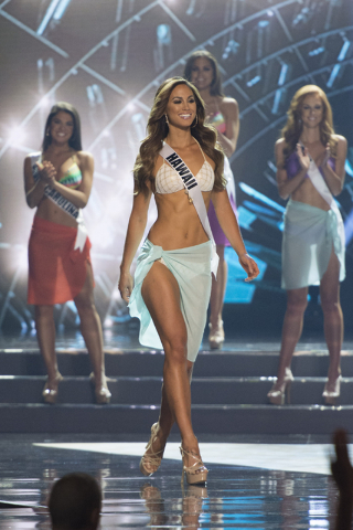 Miss Hawaii, Chelsea Hardin, is seen during the Miss USA pageant at T-Mobile Arena in Las Vegas, Sunday, June 5, 2016.(Jason Ogulnik/Las Vegas Review-Journal)