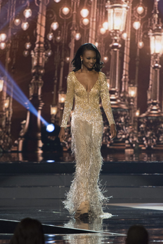 Miss District of Columbia, Deshauna Barber, is seen during the Miss USA pageant at T-Mobile Arena in Las Vegas, Sunday, June 5, 2016. Miss District of Columbia was crowned Miss USA. (Jason Ogulnik ...
