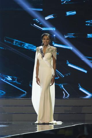 Miss Georgia, Emanii Davis, is seen during the Miss USA pageant at T-Mobile Arena in Las Vegas, Sunday, June 5, 2016. (Jason Ogulnik/Las Vegas Review-Journal)