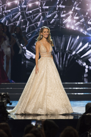 Miss USA 2015, Olivia Jordan, is seen during the Miss USA pageant at T-Mobile Arena in Las Vegas, Sunday, June 5, 2016. Miss District of Columbia was crowned Miss USA this year. (Jason Ogulnik/Las ...