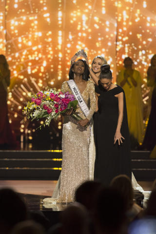 Miss District of Columbia, Deshauna Barber, is crowned Miss USA during the Miss USA pageant at T-Mobile Arena in Las Vegas, Sunday, June 5, 2016. (Jason Ogulnik/Las Vegas Review-Journal)