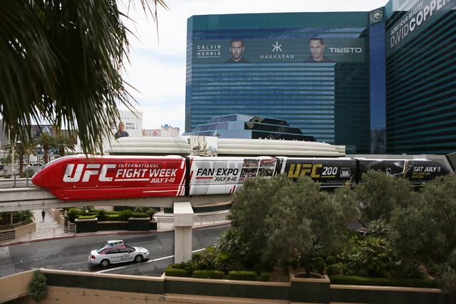 The Las Vegas Monorail runs past MGM Grand hotel-casino Thursday, June 2, 2016, in Las Vegas. (Ronda Churchill/Las Vegas Review-Journal)