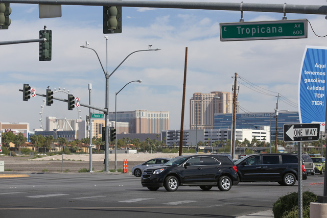 A person was taken to Sunrise Hospital and Medical Center after being struck by a car while crossing at the intersection of Tropicana Avenue and Paradise Road, Thursday, June 9, 2016, in Las Vegas ...