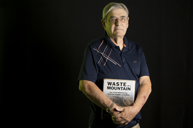 Michael Voegele, author of Waste of a Mountain, poses for a photo with his book at the Las Vegas Review-Journal on Wednesday, June 15, 2016, in Las Vegas. Erik Verduzco/Las Vegas Review-Journal Fo ...