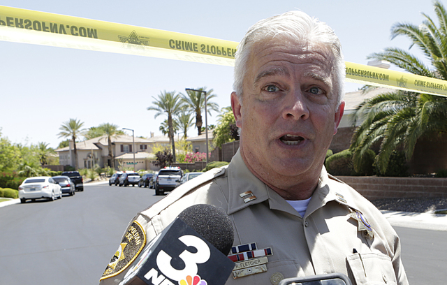 Metro Capt. Rich Fletcher speaks to the media Wednesday, June 1, 2016, about an apparent double murder-suicide at 10301 Wood Owl Court, near Town Center Drive and Hualapai Way. Bizuayehu Tesfaye/L ...