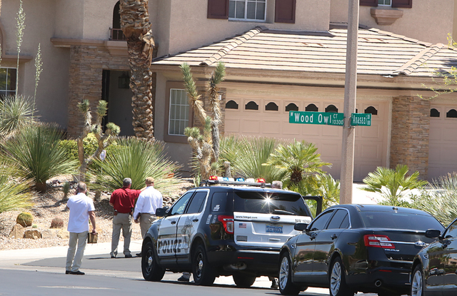 Metro is investigating an apparent double murder-suicide on Wednesday, June 1, 2016, at 10301 Wood Owl Court, near Town Center Drive and Hualapai Way. Bizuayehu Tesfaye/Las Vegas Review-Journal Fo ...