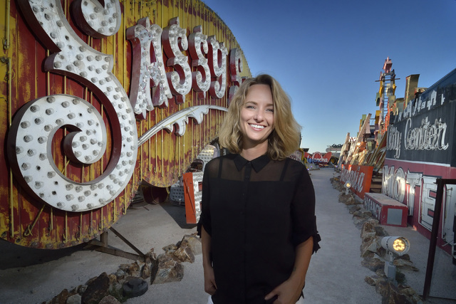 Whitney Lynn is shown at the start of her artist-in-residency at the Neon Museum at 770 Las Vegas Blvd. North. (Bill Hughes/Las Vegas Review-Journal)