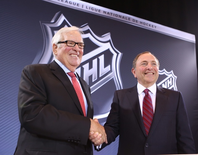 Las Vegas businessman Bill Foley, left, and NHL Commissioner Gary Bettman at the announcement of the new NHL team in Las Vegas, Wednesday, June 22, 2016. (Jeff Scheid/Las Vegas Review-Journal)