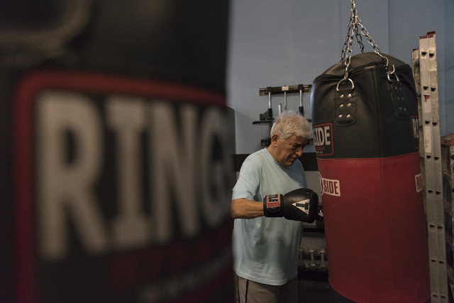 Stamatis Fragiadakis does punching exercises during the Rock Steady Boxing Program at Richard Steele Boxing Club in North Las Vegas June 20, 2016. Jason Ogulnik/View