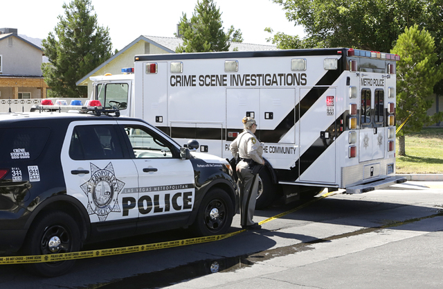 Metro's crime scene investigations truck arrives at the scene of a homicide Monday, June 13, 2016, in northeast Las Vegas, near Nellis and Lake Mead boulevards. Bizuayehu Tesfaye/Las Vegas Review- ...