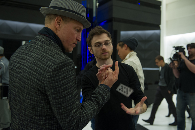 Woody Harrelson (left) and Cardistry Consultant Andrei Jikh (right) on the set of NOW YOU SEE ME 2. Photo Credit: Jay Maidment