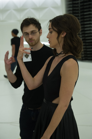 Cardistry Consultant Andrei Jikh and Lizzy Caplan on the set of NOW YOU SEE ME 2. Photo Credit: Jay Maidment