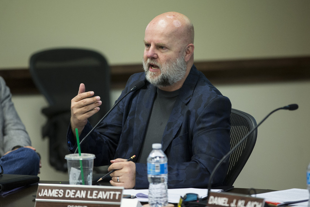 James Dean Leavitt, member of the Board of Regents, speaks during a special meeting at the Nevada System of Higher Education offices on Thursday, May 12, 2016, in Las Vegas.  (Erik Verduzco/Las Ve ...