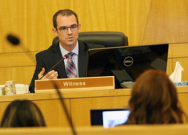 Attorney Mark Bailus speaks during a police fact finding review at Clark County Government Center Wednesday, June 15, 2016, in Las Vegas. The review covered details of the officer-involved shootin ...