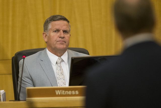 Craig Jex, Las Vegas police detective with the force investigation team, speaks during a case review for Demario Keyes who died in police custody on June 27, 2015. (Erik Verduzco/Las Vegas Review- ...