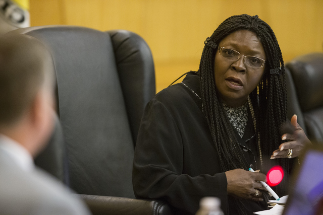 Hearing officer Lizzie Hatcher speaks during a case review for Demario Keyes who died in police custody on June 27, 2015. (Erik Verduzco/Las Vegas Review-Journal) Follow @Erik_Verduzco