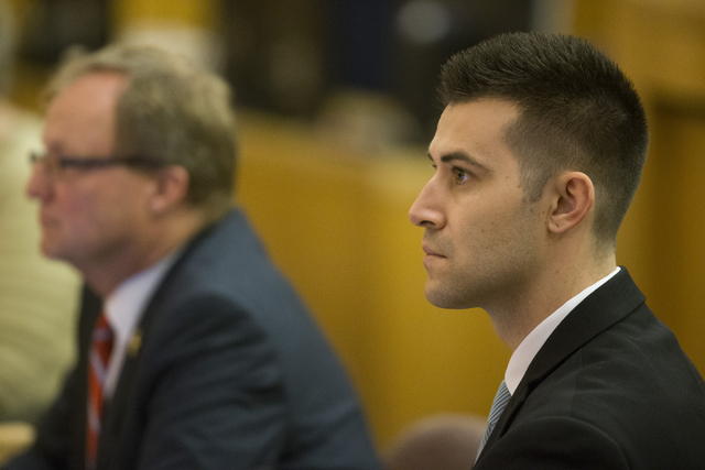 Deputy law clerk Frank LoGrippo listens during a case review for Demario Keyes who died in police custody on June 27, 2015. (Erik Verduzco/Las Vegas Review-Journal) Follow @Erik_Verduzco