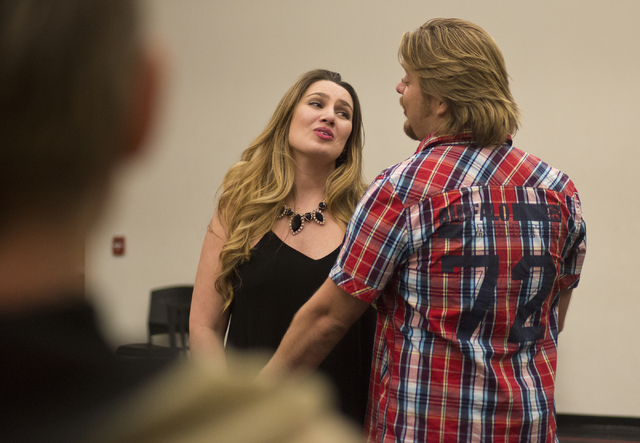 "Soprano Suzanne Vinnik and tenor Viktor Antipenko rehearse at UNLV for Opera Las Vegas' ""Carmen,"" which opens a two-performance run at the Judy Bayley Theatre on campus. Daniel Clark/Las Vegas Rev ..."