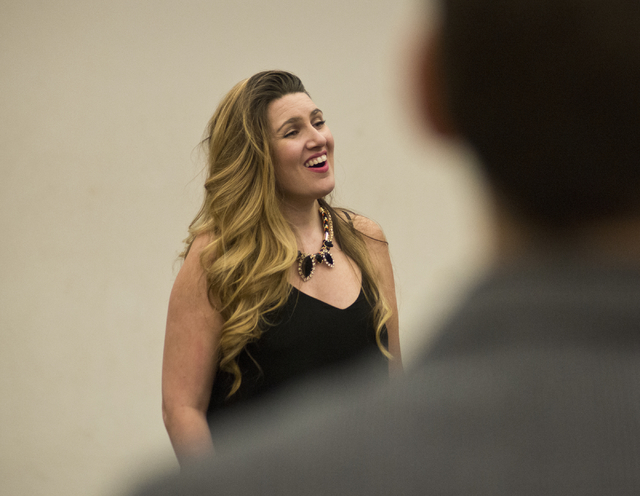 "Soprano Suzanne Vinnik performs during a recent rehearsal at UNLV in preparation for Opera Las Vegas' production of ""Carmen"" this weekend in the Judy Bayley Theatre on campus. Daniel Clark/Las Veg ..."