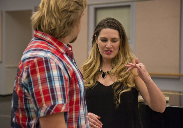 "During a rehearsal break, soprano Suzanne Vinnik and tenor Viktor Antipenko discuss their roles in Opera Las Vegas' ""Carmen,"" to be staged Friday and Sunday at UNLV. Daniel Clark/Las Vegas Review- ..."