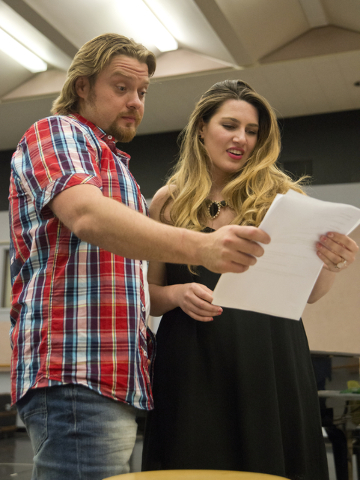 "Soprano Suzanne Vinnik goes over the rehearsal schedule with tenor Viktor Antipenko during rehearsal for Opera Las Vegas' ""Carmen,"" to be presented this weekend at UNLV's Judy Bayley Theatre. Dani ..."
