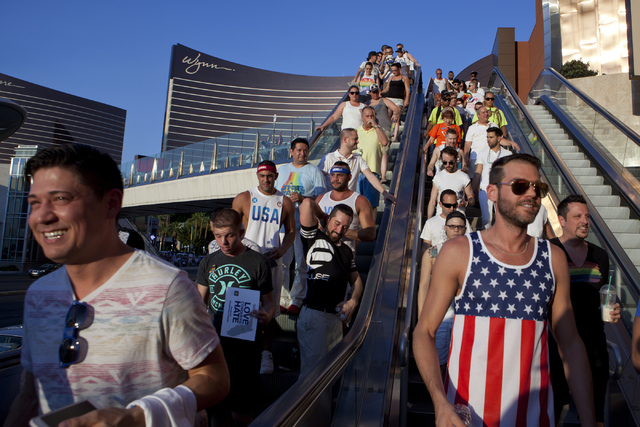 The LGBT community and their allies march on the Las Vegas Strip on Monday, June 20, 2016, to show their support for the lives lost in the Orlando, Fla., Pulse Nightclub. Loren Townsley/Las Vegas  ...
